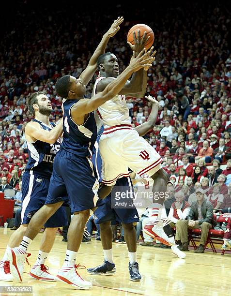 Victor Oladipo of the Indiana Hoosiers shoots the ball while defended by Kelvin Penn of the Florida Atlantic Owls during the game at Assembly Hall on...