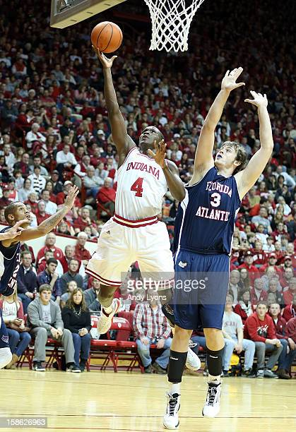Victor Oladipo of the Indiana Hoosiers shoots the ball while defended by Dragan Sekelja of the Florida Atlantic Owls during the game at Assembly Hall...