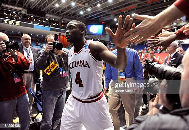 Victor Oladipo of the Indiana Hoosiers walks off the court after defeating the Temple Owls during the third round of the 2013 NCAA Men's Basketball...