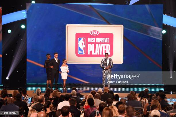 Victor Oladipo of the Indiana Pacers accepts the Most Improved Player Award during the 2018 NBA Awards Show on June 25 2018 at The Barkar Hangar in...