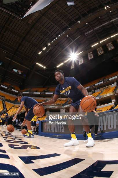 Victor Oladipo of the Indiana Pacers and Myles Turner of the Indiana Pacers warm up before the game against the Cleveland Cavaliers in Game Three of...