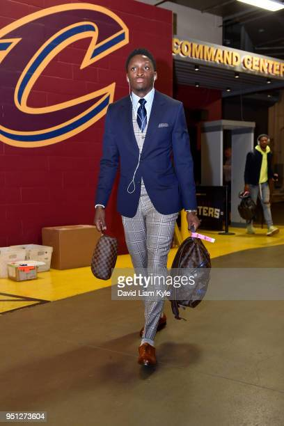Victor Oladipo of the Indiana Pacers arrives at the stadium before the game against the Cleveland Cavaliers in Game Five of Round One of the 2018 NBA...