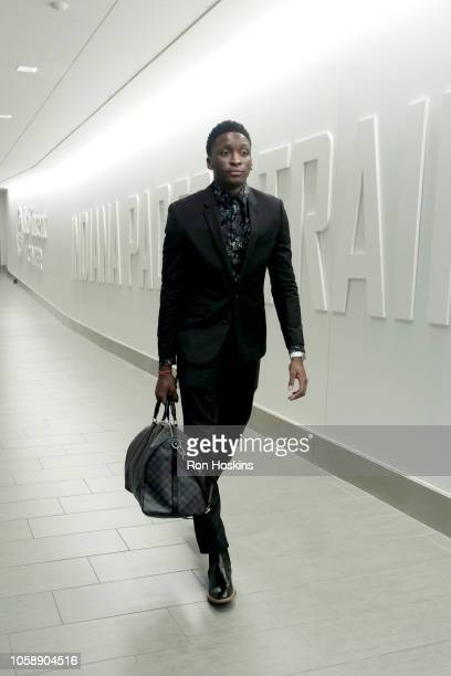 Victor Oladipo of the Indiana Pacers arrives to the arena prior to the game against the Philadelphia 76ers on November 7 2018 at the Bankers...