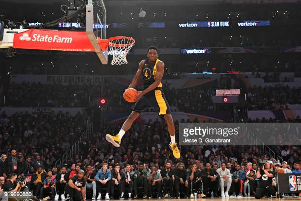 Victor Oladipo of the Indiana Pacers attempts to dunk the ball during the Verizon Slam Dunk Contest during State Farm AllStar Saturday Night as part...