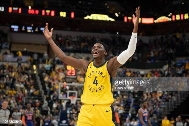 Victor Oladipo of the Indiana Pacers celebrates a call during the second half of the game against the New York Knicks at Bankers Life Fieldhouse on...