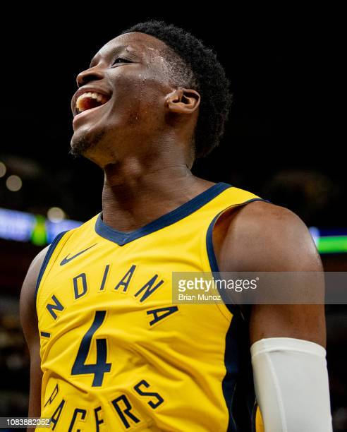 Victor Oladipo of the Indiana Pacers celebrates after a call during a game against the New York Knicks at Bankers Life Fieldhouse on December 16 2018...