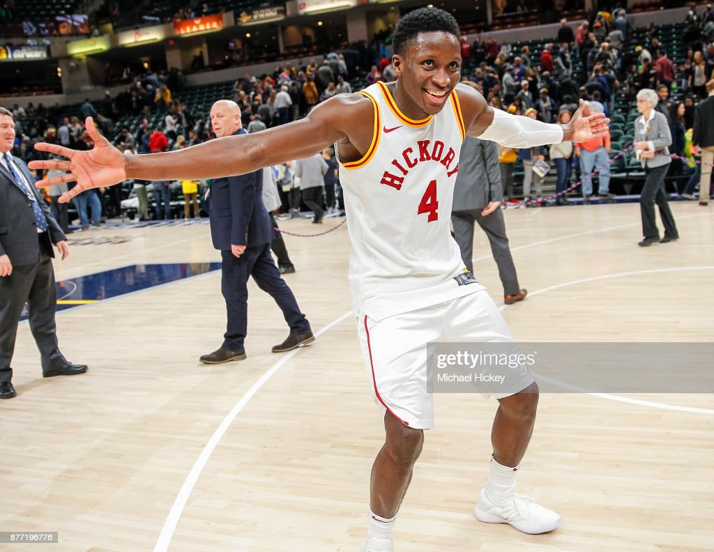 Victor Oladipo of the Indiana Pacers celebrates after the