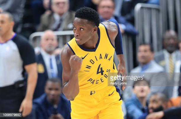 Victor Oladipo of the Indiana Pacers celebrates against the Philadelphia 76ers at Bankers Life Fieldhouse on November 7 2018 in Indianapolis Indiana...