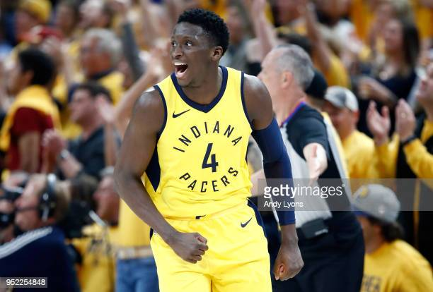 Victor Oladipo of the Indiana Pacers celebrates against the Cleveland Cavaliers in Game Six of the Eastern Conference Quarterfinals during the 2018...