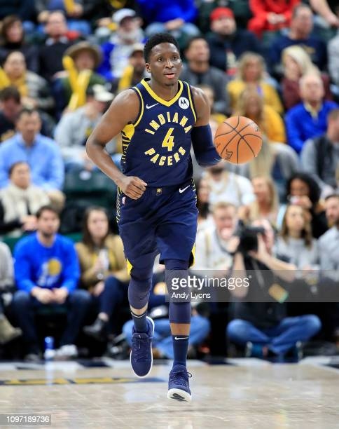 Victor Oladipo of the Indiana Pacers dribbles the ball against of the Charlotte Hornets at Bankers Life Fieldhouse on January 20 2019 in Indianapolis...
