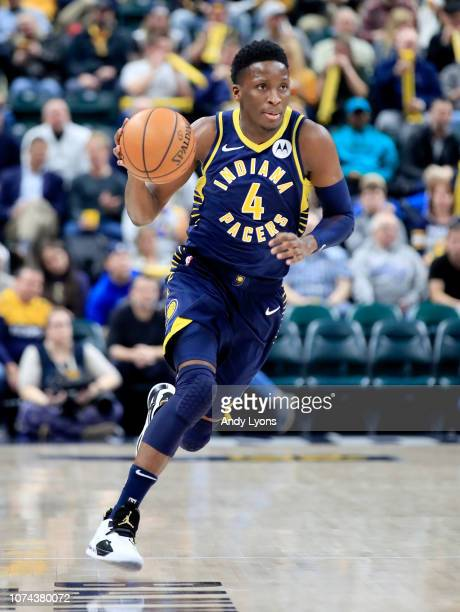 Victor Oladipo of the Indiana Pacers dribbles the ball against the Cleveland Cavaliers at Bankers Life Fieldhouse on December 18 2018 in Indianapolis...