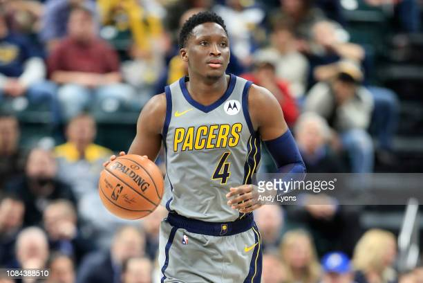 Victor Oladipo of the Indiana Pacers dribbles the ball against the Philadelphia 76ers at Bankers Life Fieldhouse on January 17 2019 in Indianapolis...