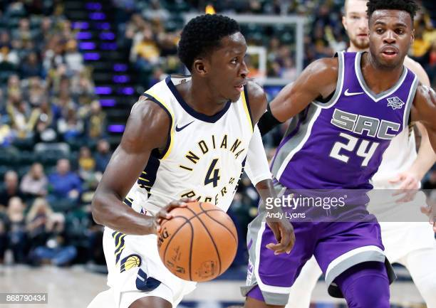 Victor Oladipo of the Indiana Pacers dribbles the ball against the Sacramento Kings at Bankers Life Fieldhouse on October 31 2017 in Indianapolis...