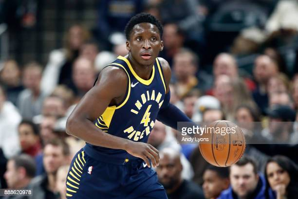 Victor Oladipo of the Indiana Pacers dribbles the ball against the Cleveland Cavaliers at Bankers Life Fieldhouse on December 8 2017 in Indianapolis...