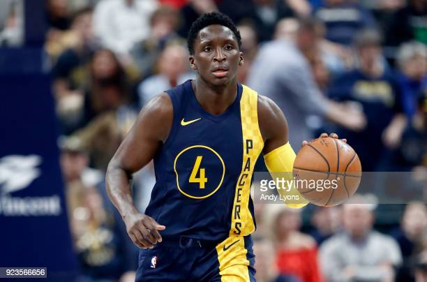 Victor Oladipo of the Indiana Pacers dribbles the ball against the Atlanta Hawks during the game at Bankers Life Fieldhouse on February 23 2018 in...