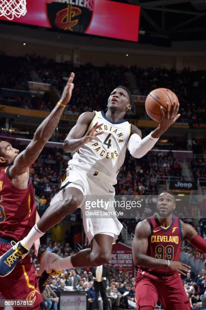 Victor Oladipo of the Indiana Pacers drives to the basket against the Cleveland Cavaliers on November 1 2017 at Quicken Loans Arena in Cleveland Ohio...
