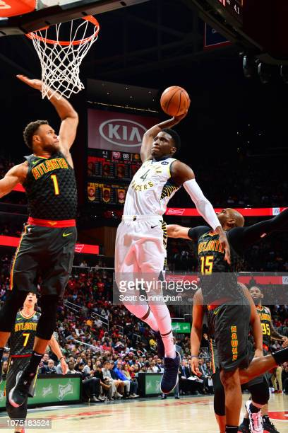 Victor Oladipo of the Indiana Pacers dunks against the Atlanta Hawks on December 26 2018 at State Farm Arena in Atlanta Georgia NOTE TO USER User...