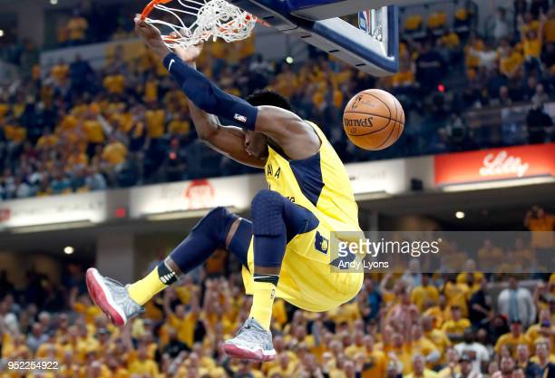 Victor Oladipo of the Indiana Pacers dunks the ball against the Cleveland Cavaliers in Game Six of the Eastern Conference Quarterfinals during the...