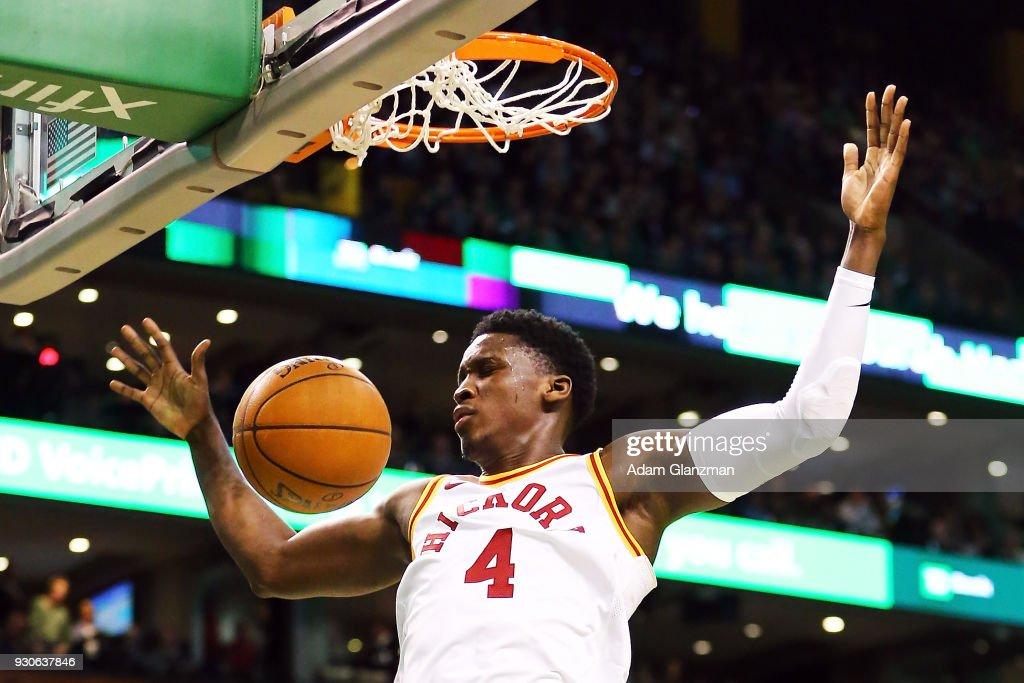 Victor Oladipo #4 of the Indiana Pacers dunks the ball during a game against the Boston Celtics at TD Garden on March 11, 2018 in Boston, Massachusetts.