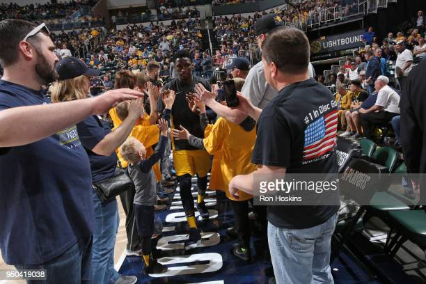Victor Oladipo of the Indiana Pacers enters the arena before the game against the Cleveland Cavaliers in Game Four of Round One of the 2018 NBA...