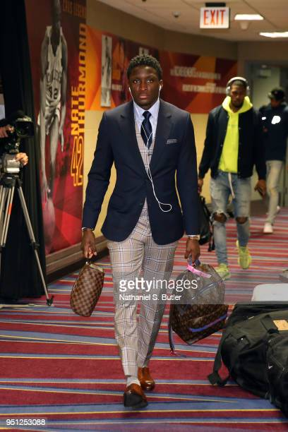 Victor Oladipo of the Indiana Pacers enters the arena before the game against the Cleveland Cavaliers in Game Five of Round One of the 2018 NBA...
