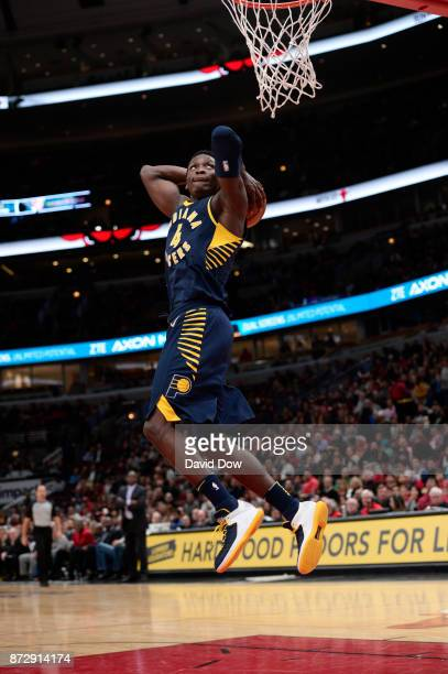 Victor Oladipo of the Indiana Pacers goes for a dunk against the Chicago Bulls on November 10 2017 at the United Center in Chicago Illinois NOTE TO...