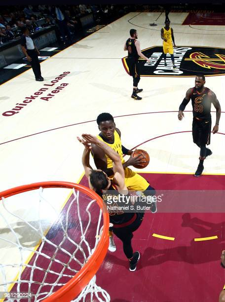 Victor Oladipo of the Indiana Pacers goes to the basket against the Cleveland Cavaliers in Game Five of Round One of the 2018 NBA Playoffs on April...