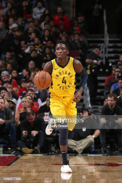 Victor Oladipo of the Indiana Pacers handles the ball against the Chicago Bulls on November 2 2018 at the United Center in Chicago Illinois NOTE TO...