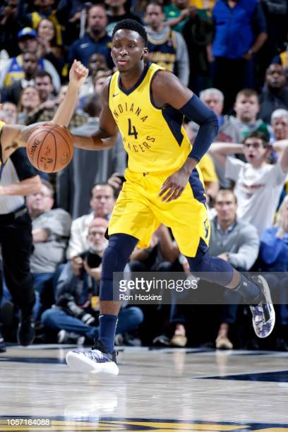 Victor Oladipo of the Indiana Pacers handles the ball against the Boston Celtics on November 3 2018 at Bankers Life Fieldhouse in Indianapolis...