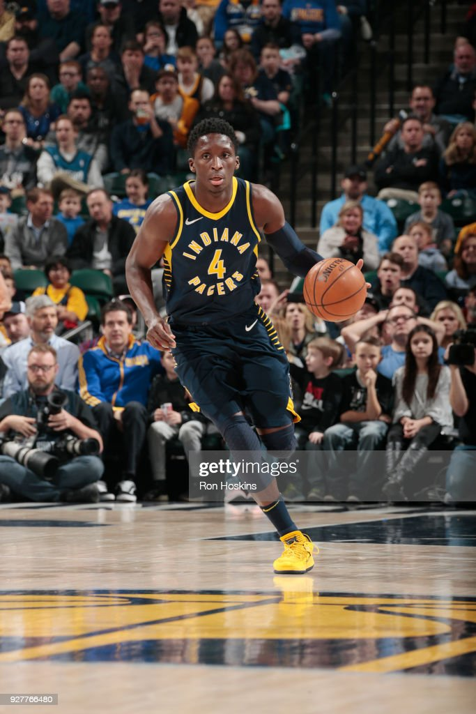 Victor Oladipo of the Indiana Pacers handles the ball