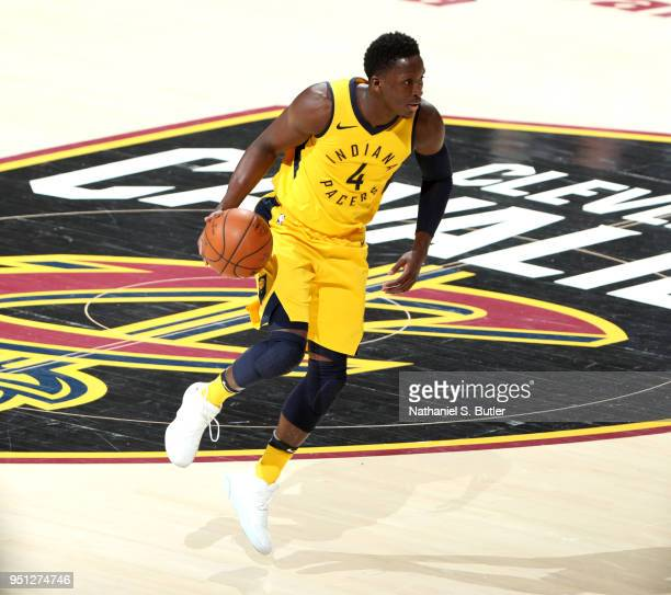 Victor Oladipo of the Indiana Pacers handles the ball against the Cleveland Cavaliers in Game Five of Round One of the 2018 NBA Playoffs on April 25...