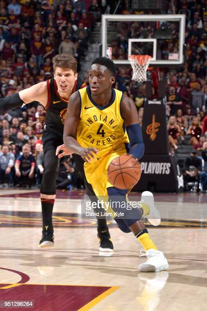 Victor Oladipo of the Indiana Pacers handles the ball against the Cleveland Cavaliers in Game Five of Round One of the 2018 NBA Playoffs between the...