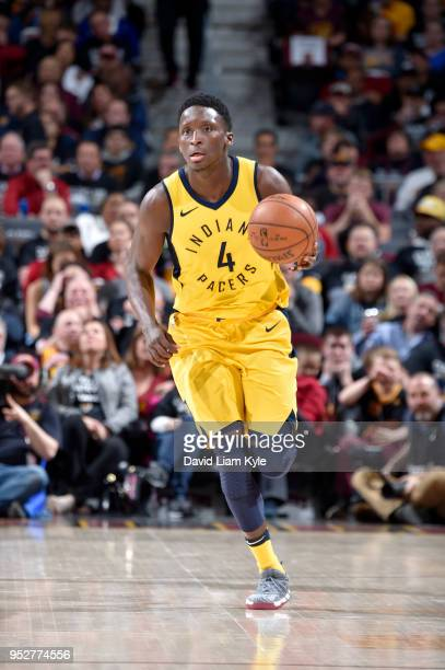 Victor Oladipo of the Indiana Pacers handles the ball against the Cleveland Cavaliers in Game Seven of Round One of the 2018 NBA Playoffs on April 29...