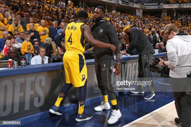 Victor Oladipo of the Indiana Pacers hugs Lance Stephenson of the Indiana Pacers before the game against the Cleveland Cavaliers during the game...