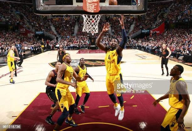 Victor Oladipo of the Indiana Pacers jumps for the rebound against the Cleveland Cavaliers in Game Five of Round One of the 2018 NBA Playoffs on...