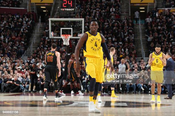 Victor Oladipo of the Indiana Pacers looks on against the Cleveland Cavaliers in Game One of Round One of the 2018 NBA Playoffs on April 15 2018 at...