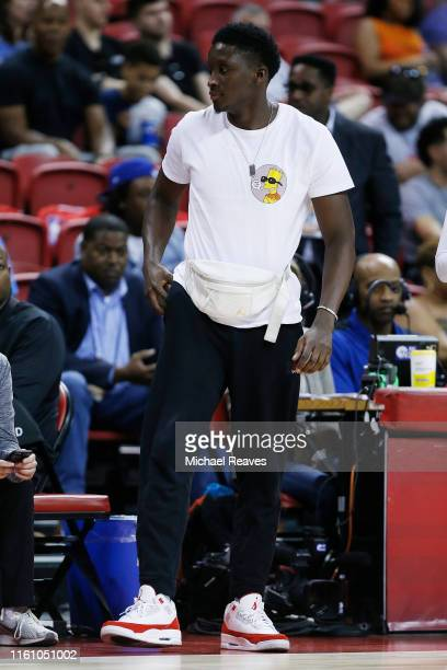 Victor Oladipo of the Indiana Pacers looks on during the game between the Indiana Pacers and the Atlanta Hawks during the 2019 NBA Summer League at...