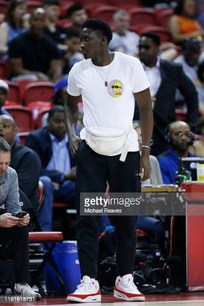Victor Oladipo of the Indiana Pacers looks on during the game between the Indiana Pacers and the Atlanta Hawks at the 2019 Summer League at the...