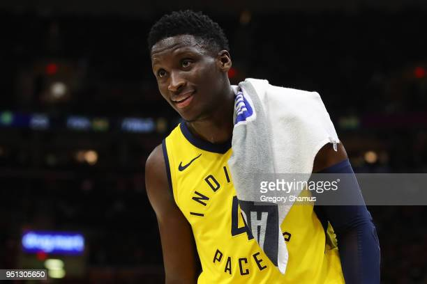 Victor Oladipo of the Indiana Pacers looks on from the bench while playing the Cleveland Cavaliers in Game Five of the Eastern Conference...