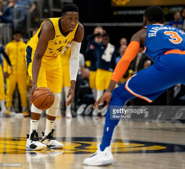 Victor Oladipo of the Indiana Pacers looks to get past Tim Hardaway Jr #3 of the New York Knicks during the second of the game at Bankers Life...