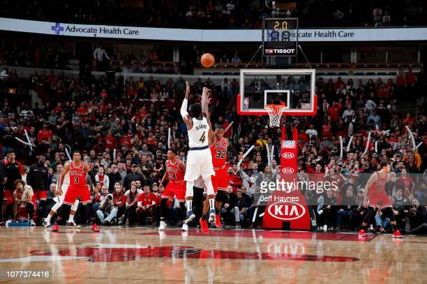 Victor Oladipo of the Indiana Pacers makes the game winning basket against the Chicago Bulls on January 4 2019 at United Center in Chicago Illinois...