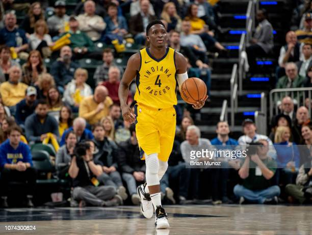 Victor Oladipo of the Indiana Pacers moves the ball up the court during the second half of the game against the New York Knicks at Bankers Life...