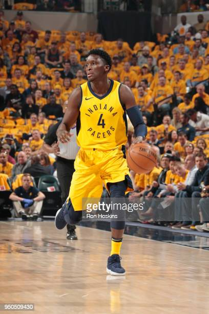 Victor Oladipo of the Indiana Pacers moves up the court during the game against the Cleveland Cavaliers in Game Three of Round One of the 2018 NBA...