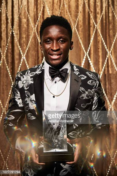 Victor Oladipo of the Indiana Pacers poses for a portrait after winning the Most Improved Player Award during the NBA Awards Show on June 25 2018 at...