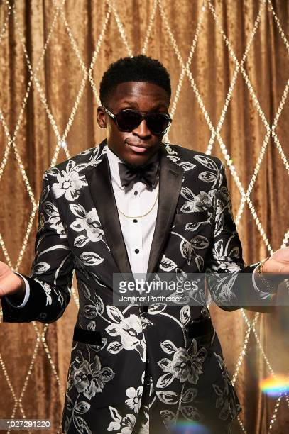 Victor Oladipo of the Indiana Pacers poses for a portrait during the NBA Awards Show on June 25 2018 at the Barker Hangar in Santa Monica California...