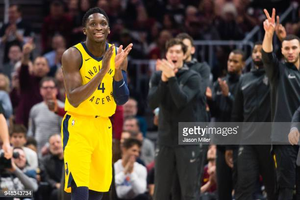Victor Oladipo of the Indiana Pacers reacts after being called for a foul against the Cleveland Cavaliers during the first half of Game 2 of the...