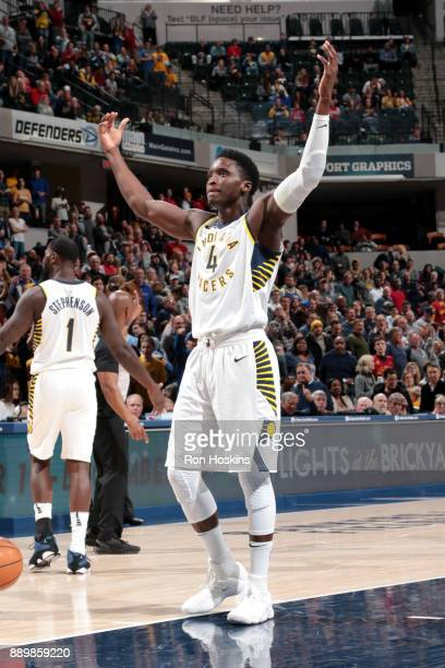 Victor Oladipo of the Indiana Pacers reacts after winning in overtime against the Denver Nuggets on December 10 2017 at Bankers Life Fieldhouse in...