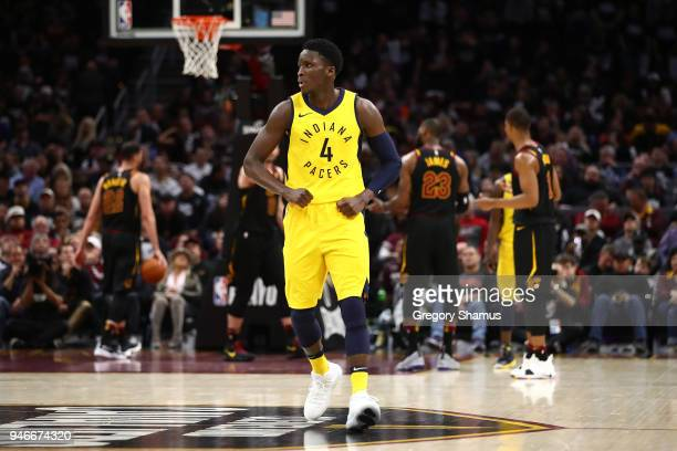 Victor Oladipo of the Indiana Pacers reacts to a fourth quarter three point basket while playing the Cleveland Cavaliers in Game One of the Eastern...