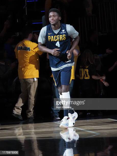 Victor Oladipo of the Indiana Pacers runs on to the court during Fan Jam on October 13 2019 in Indianapolis Indiana NOTE TO USER User expressly...