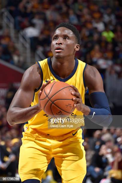 Victor Oladipo of the Indiana Pacers shoots the ball against the Cleveland Cavaliers in Game Five of Round One of the 2018 NBA Playoffs between the...